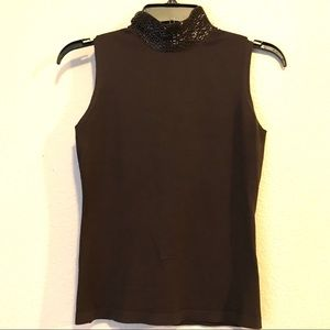 Banana Republic Sleeveless Fancy Turtleneck Top